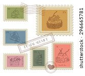 sweet postage stamps vector set | Shutterstock .eps vector #296665781