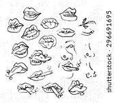lips set  attractive human... | Shutterstock .eps vector #296691695