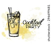 hand drawn poster. cocktail... | Shutterstock .eps vector #296699681