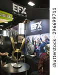 Small photo of July 10, 2015: San Diego Comic Con, the annual pop culture and fandom convention in San Diego, California. Loki's helmet from the Avengers films on display at the EFX booth.