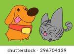 vector illustration cute cat... | Shutterstock .eps vector #296704139