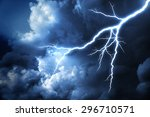 lightning strike on the cloudy... | Shutterstock . vector #296710571