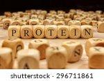 protein word written on wood... | Shutterstock . vector #296711861