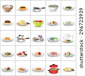 3d flat food icons set  vector... | Shutterstock .eps vector #296723939