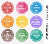 summer offer stickers with... | Shutterstock .eps vector #296726681