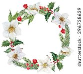 watercolor christmas wreath ... | Shutterstock . vector #296738639