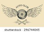 wheels spoked  feathers  wings... | Shutterstock .eps vector #296744045