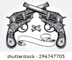 Hand Drawn Retro Gun Pistols...