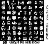 set of 60 business icons. white ... | Shutterstock .eps vector #296768147