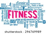 fitness word cloud and collage  | Shutterstock .eps vector #296769989