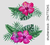 watercolor tropical flowers and ... | Shutterstock .eps vector #296773241
