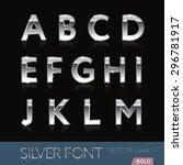 chrome  metal  silver  alphabet ... | Shutterstock .eps vector #296781917