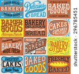 vintage hand drawn bakery label ... | Shutterstock .eps vector #296785451