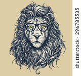 Hipster lion vector illustration. Glasses separated.  | Shutterstock vector #296785535
