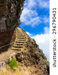 Small photo of Exquisite stone stairway high up on a Madeiran mountain trail