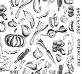 hand drawn vegetables set on a... | Shutterstock .eps vector #296797349
