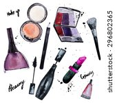 vector watercolor set of... | Shutterstock .eps vector #296802365