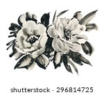 black and white sketch with... | Shutterstock . vector #296814725