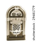 miniature juke box on isolated... | Shutterstock . vector #29681779