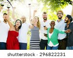 diverse people luncheon... | Shutterstock . vector #296822231