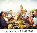 friend friendship dining... | Shutterstock . vector #296822261