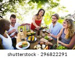 friends outdoors party... | Shutterstock . vector #296822291