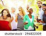 diverse people friends hanging... | Shutterstock . vector #296822309