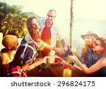 beach party dinner friendship... | Shutterstock . vector #296824175