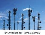 silhouette phone antenna.sunset ... | Shutterstock . vector #296832989