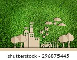 paper cut of green city... | Shutterstock . vector #296875445