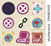hand drawn web emblems set.... | Shutterstock .eps vector #296882435
