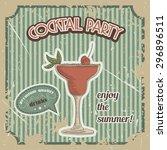 vector cocktail poster in... | Shutterstock .eps vector #296896511