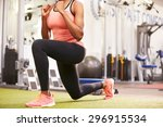 Woman Doing Lunges In A Gym ...