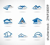 blue and gray home logo set... | Shutterstock .eps vector #296918009