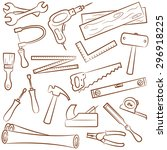 collection of carpenter's tools ... | Shutterstock .eps vector #296918225