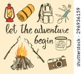 hand drawn camping set with... | Shutterstock .eps vector #296936159