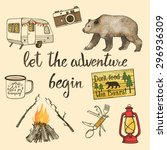 hand drawn camping set with... | Shutterstock .eps vector #296936309