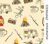 hand drawn camping seamless... | Shutterstock .eps vector #296936321