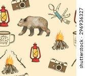 hand drawn camping seamless... | Shutterstock .eps vector #296936327