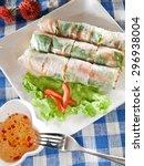 spring rolls with vegetables ...   Shutterstock . vector #296938004