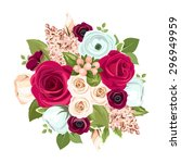 Vector Bouquet With Red  White...