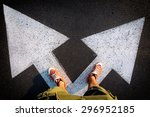 red shoes from above on the...   Shutterstock . vector #296952185
