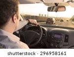 businessman driving back home... | Shutterstock . vector #296958161
