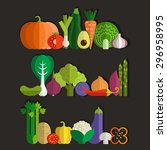 set of fresh healthy vegetables ... | Shutterstock .eps vector #296958995
