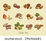 set of nuts on a neutral... | Shutterstock .eps vector #296966681