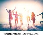 friendship freedom beach summer ... | Shutterstock . vector #296968691