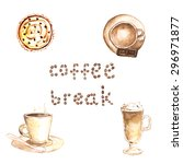 watercolor set of 3 types of... | Shutterstock .eps vector #296971877