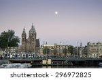 Stock photo amsterdam holland june busy city centre of amsterdam during sunset amsterdam is a 296972825