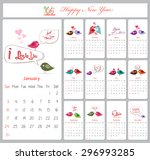 love calendar for 2016 with... | Shutterstock .eps vector #296993285