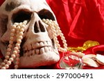 a spooky skull thats holding on ... | Shutterstock . vector #297000491